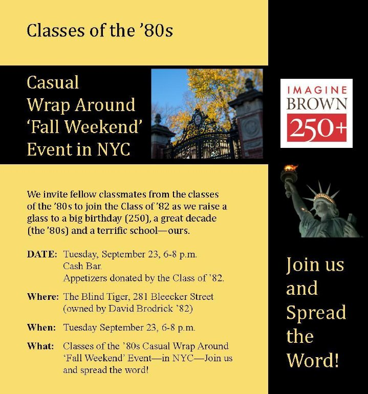 Brown University Club in New York - Casual Wrap Around 'Fall Weekend